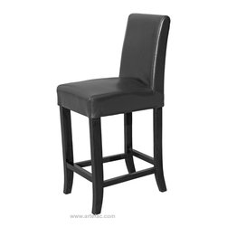 """ARTeFAC - Leather Counter Stool 26"""" Seat Height, Black - Black Leather Counter Stool 26"""" Seat Height"""