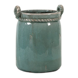 iMax - iMax Artic Large Planter - The Arctic planter is simple in shape with classic rope detailing cinching the top and twisting into handles. Display your floral or use to hold a potted plant.