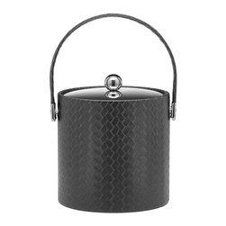 Kraftware - San Remo Ice Bucket w Stitched Handle in Eclipse - Metal cover. 3 quart ice bucket. Made in USA. 9 in. Dia. x 9 in. H (3 lbs.)The Grant Signature Home collection's San Remo group features upscale leatherette vinyl's that have an old world charm. Beautifully textured and appointed, San Remo is a proven winner.