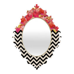"""Chevron Flora 1 Baroque Mirror, 30""""x38"""" - - Face: High gloss aluminum with UV resistant coating"""