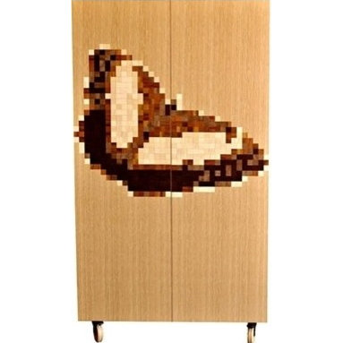 Eco Friendly Furnture and Lighting - It's not a Nintendo game, it's a beautiful armoire by Iannone Design. Different species of wood veneers are cut by laser and hand assembled to form the pixelated butterfly graphic. Veneer mosaic graphic 3 soft closing dovetailed drawers 4 adjustable shelves Soft closing doors Maple rolling casters