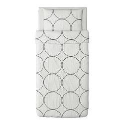 IKEA of Sweden - TVÅBLAD CIRKEL Duvet cover and pillowcase(s) - Duvet cover and pillowcase(s), white, black