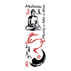 "Home Decor - Buddha Wall Decals - Invite Zen into your decor with a Buddha wall decal. Like a statue, this large reposing Buddha evokes tranquility and comes with an Om symbol, flowers, and some inspirational words for your wall. Contains 12 pieces on a 13.75"" x 39.4"" sheet. Imported from Italy."