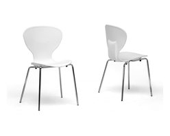 Baxton Studio - Baxton Studio Boujan White Plastic Modern Dining Chair (Set of 2) - Clean, casual, and contemporary, the curves of the Boujan Dining Chair will captivate you!  These stackable chairs are made with durable hard white plastic seats secure atop chromed steel legs.  Non-marking feet finish them off as does the lightly ridged seat design.