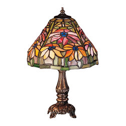 Meyda Tiffany - Meyda Tiffany Lamps Table Lamp in Mahogany Bronze - Shown in picture: Poinsettia Mini Lamp; Russet Poinsettia Flowers Against Bay Green Leaves And Background Grace This Tiffany Studio Reproduction Stained Glass Shade. The Warm Neutral Tones In This Floral Arrangement Make This Mini Lamp - Finished In Mahogany Bronze - A Suitable Accompaniment For Any Room And Any Season.