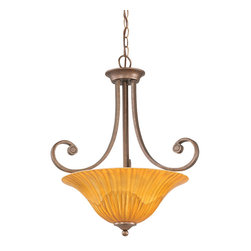 "Toltec - Toltec 254-BRZ-58619 Bronze Finish 3 Bulb Uplight Pendant with 16"" Tiger Glass - Toltec 254-BRZ-58619 Bronze Finish 3 Bulb Uplight Pendant with 16"" Tiger Glass"