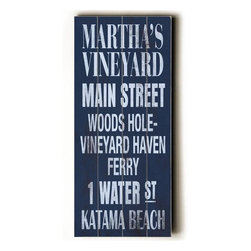 Home Decorators Collection - Martha's Vineyard Transit Sign Wall Plaque - This Martha's Vineyard Transit Sign Wall Plaque takes you on a tour of one of the most popular summer colonies. Martha's Vineyard is only accessible by boat or plane, but this wall plaque does a great job of bringing some of the area's best tourist sites right to your door. Made from the highest quality wood, this wood sign is hand distressed to give it a vintage appeal. Ready to put on your wall with a saw tooth hanger. Archival quality ink to last a lifetime. Available in blue.