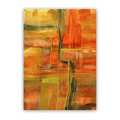 """Autumn Lights"" by Victoria Kloch - If you are a fan of modern abstract art you won't be able to live without this painting. Striking colors bring to life the moment before the ending of a season. Autumn just might become your favorite season."