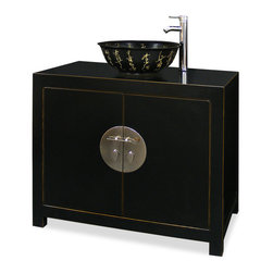 """China Furniture and Arts - Elmwood Ming Vanity Cabinet - Distinct in its simple clean lines, this handsome Elmwood vanity is a fine example of Ming furniture style. Elegantly hand-etched black Chinese calligraphy porcelain bowl is decorated with golden calligraphy. One removable shelf behind two doors provides ample storage room. Classic black finish with distressed edges. The center hardware in shiny white brass finish is the symbol of unity. Fit for any contemporary bathroom. Cabinet measures 37""""W x 20""""D x 31""""H. Vessel bowl and faucet are not installed."""
