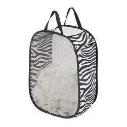 Whitmor - Zebra Laundry Bag - Enjoy toting tons of dirty duds with the heavyweight straps of this quickly collapsible laundry bag. Moisture-proof polyester mesh makes it a true must-have.   26'' H x 18'' diameter Polyester / metal / PVC / paper Wipe clean Imported