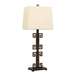 Port 68 - Mizner Lamp - The Mizner table lamp reinterprets familiar Greek key with a tall, slender style. Sleek and contemporary, this geometric fixture casts a sophisticated light to modern interiors. Metal; Antiqued bronze finish; Rectangle empire hardback shade, honey-beige polyester; 150W bulb (not included); 3-way switch.
