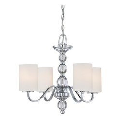 Quoizel - Quoizel DW5004 Downtown 4 Light 1 Tier Chandelier with Opal Etched Glass - Adorn your home décor with this tantalizing 4 light 1 tier chandelier featuring delicate etched opal glass.Features:
