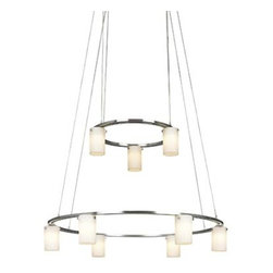 George Kovacs - Counter Weights Brushed Nickel Nine-Light Low Voltage Chandelier - -Cased Etched Opal Glass  -Bulb(s) Included  -12 Volts  -Adjustable To 76H Max. George Kovacs - P8024-1-084