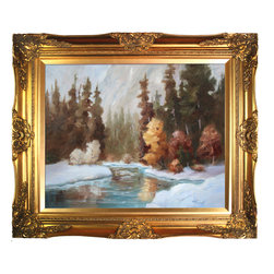 """overstockArt.com - Thour - Winter Landscape Oil Painting - Winter Landscape is a beautiful painting of a winter landscape by Brenda Thour made originally as an oil painting on canvas. Enjoy the beauty and color of this painting reproduced as a fine canvas print. Brenda Thour says that she's a wildlife & landscape artist. She sold works throughout the US and Canada and works mostly in oil but also uses acrylic and watercolor. Painting is her passion and picking a brush was by her words like turning a corner in her life when she started painting in 1999. """"To take a blank canvas and create a work of art depicting God's beautiful handiwork is amazingly rewarding. Since I started painting, I have more of an appreciation of the beauty all around us."""""""