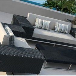 Jane Outdoor Wicker Sofa - The Jane outdoor sofa has a stainless steel framed wrapped with outdoor wicker. Matching arm chairs and a coffee table are also available.