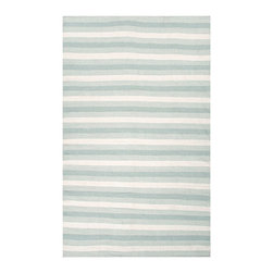 """Birch Aqua Indoor/Outdoor Rug, 3'6"""" X 5'6"""" - Muted stripes some broad, some fine as a comb create a balanced, tranquil look in this indoor-outdoor area rug as perfect for the seashore as it is for the inherited family house inland. The Birch Rug in Aqua has a quiet mood due to the softness of its color and pattern, and its low-profile flat weave is excellent for high-traffic spaces, as is its durable, easy-to-clean fiber."""