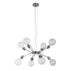 """Lumina - Lumina Matrix Otto 8 Arms pendant   chandelier - Product description: The Matrix Otto suspension light has 8 arms and is designed by Yaakov Kaufman in 2000. The Matrix collection is a range of suspension light fittings composed by an aluminium alloy diecast central body nickeled or painted, with various adjustable arms made out of stainless steel rods. Four, eight and sixteen arms types are available Halogen Par. or incandescent Globe bulbs are normally used with power up to 75W ea.; fluorescent compact Globe bulbs up to 21W can also be used.Hanging lamp in aluminium alloy and steel made out of two central bodies with sixteen arms that can be moved up and down; halogen or fluorescent compact bulbs can be used within the maximum admitted power.  Product description: The Matrix Otto suspension light has 8 arms and is designed by Yaakov Kaufman in 2000. The Matrix collection is a range of suspension light fittings composed by an aluminium alloy diecast central body nickeled or painted, with various adjustable arms made out of stainless steel rods. Four, eight and sixteen arms types are available Halogen Par. or incandescent Globe bulbs are normally used with power up to 75W ea.; fluorescent compact Globe bulbs up to 21W can also be used.Hanging lamp in aluminium alloy and steel made out of two central bodies with sixteen arms that can be moved up and down; halogen or fluorescent compact bulbs can be used within the maximum admitted power. Details:                         Manufacturer:                         Lumina                                         Designer:                         Yaakov Kaufman                                         Made in:            Italy                            Dimensions:                         Diameter: 78 3/4"""" (200cm) Height: 32 1/4"""" (82cm)                                         Light bulb:                        8 x Globolux E26 clear bulbs - not included                                         Material:             metal"""