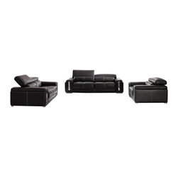 ESF - ESF 2992 Black Top Grain Italian Leather Sofa Set With Adjustable Headrests - The ESF 2992 sofa set is a great addition for any living room that needs a touch of modern design. This sofa set comes upholstered in a beautiful black top grain Italian leather. High density foam is placed within the cushions for added comfort. Each piece features adjustable headrests for an extra touch of relaxation. Only solid wood products were used when crafting the frame making the sofa a very durable piece.