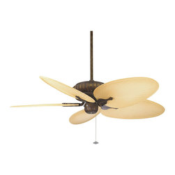"""Frontgate - Naples Outdoor Ceiling Fan in Aged Bronze with Brown Blades - Five 22"""" blades with a 20&#176 blade pitch. 3 forward and 3 reverse speeds. Reverse switch located on switch cup. Ceiling slope to 30&#176. 6"""" wet location downrod included. The all-weather Naples Outdoor Ceiling Fan in Aged Bronze is rated for dry, damp, and wet locations indoors or outdoors, making it the perfect way to cool any space. The finish on this fan's scalloped tropical-style motor is powder-coated for an authentic aged bronze look. . . .  . . Additional down rods in several sizes offered separately."""