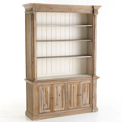 Revival Bookcase - This acacia wood bookcase has tons of shelving and storage to hold books, files and other mementos. The white paneling in the back adds to its interest, and the adjustable shelving can be changed to fit all of your storage needs.