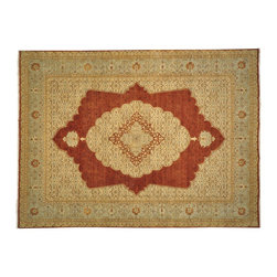 Antiqued Tabriz Rug, 100% Wool 9'X12' Hand Knotted Vegetable Dyes Rug SH12089 - This collection consists of fine knotted rugs.  The knots per square inch means more material in the rug as well as more labor.  This leads to a finer rug and a more expoensive rug.  Classical and traditional persian motifs are usually used as designs in these rugs.