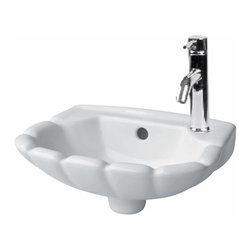 Renovators Supply - Wall Mount Sinks White Periwinkle Wall mount Sink 14 1/4 W - Wall Mount Sinks: Made of Grade A vitreous China these sinks easily endure daily wear & tear. SPACE-SAVING design maximizes limited bathroom space. Our protective  finish resists common household stains & makes it an EASY CLEAN wipe-off surface. Ergonomically designed this sink complies with  and includes wall-mount installation instructions. Accepts single hole faucet, sold separately.