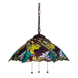 Meyda Tiffany - Meyda Tiffany Pendants Pendant Lighting Fixture - Shown in picture: Spiral Grape Pendant; A Bluebird In Flight Hovers Above Spiraling Concord Purple Jewels - Vineyard Green Leaves And Glistening Dew Kissed Bark Brown Vines In This Beautiful Pendant Shade. Mahogany Bronze Finished Lhardware With Grape And Vine Detailed Canopy Set Off The Beautiful Shade.; Smallest height shown - expandable from 16-51.