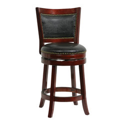 "Boraam - Boraam 24"" Bristol Swivel Stool in Cherry - Boraam - Bar Stools - 42924 - The Bristol Swivel Counter Stool by Boraam Industries is composed of solid hardwood and engineered to perfection. The seat and back of this counter chair are padded with high density foam and upholstered in bonded leather with decorative nail head trim. Each leg of this pub height chair has a strategic flare design that provides durability and balance to those who sit. Additionally, the steel swivel plate features full ball bearing designs for an effortless 360-degree turn! A metal kick plate over the entire footrest protects against scuffs."