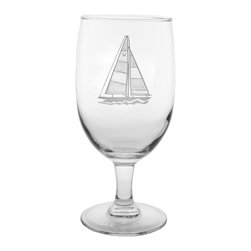 Rolf Glass - Sailboat Iced Tea 16oz, Set of 4 - Whether it's black, green or a tropical blend, these iced tea glasses crafted from cut glass hold just enough to quench any thirst. A crisply etched sailboat, complete with racing number, lends a nautical feel.