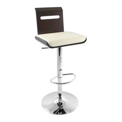 Lumisource - Viera Barstool in w Bent Wood Seat & Hydrauli - 360° Swivel. Hydraulic Lift. Seat Height: 26 in. - 31 in.. 19 in. L x 20.5 in. W x 42 in. H (extended)This Viera barstool is made out of beautiful bent wood. It has a slat design through the backrest which adds artistic detail and a thick padded leatherette cushion for extra comfort. Features a chrome base with footrest, 360° swivel, and adjustable height hydraulics. For comfort and sophistication, add a Viera Barstool to your home or bar!