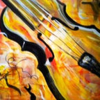 Celebrate With Music (Original) By Renee  Dumont - My next best love is music.  My husband and I sing and play music. Life would be so empty without music, and so I was inspired to paint musical instruments because the music inspires me everyday.