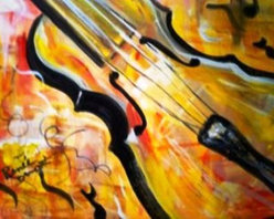 Celebrate Music (Original) by Renee  Dumont - Influenced by artist RICHARD POUSETTE-DART. The musical notes and cell like squiggles all contribute to our world. I strived to capture the love of music. I LOVE music and cannot paint without it.  My husband and I write music sing and play. All my paintings are museum wrapped and reading to hang.