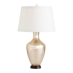 "Arteriors Home - Transitional Arteriors Home January Golden Mercury Glass Table Lamp - An updated jug style table lamp in golden mercury glass featuring an internal bubble-like texture that shows through to the surface. A bronze circular base anchors the look. A lined ivory euro taper shade with flat trim detailing complements the amphora shape. Add this beautiful table lamp to a side table or buffet in any style of room from formal to casual. Jug table lamp. Golden mercury glass. Interior bubble texture. Round bronze base. Ivory microfiber euro taper shade. Matching ivory lining. 1"" flat trim at top and bottom. 3-way switch. Maximum 150 watt or equivalent bulb (not included). 16"" wide. 27 1/2"" high.      Jug table lamp.  Golden mercury glass.  Interior bubble texture.  Round bronze base.  Ivory microfiber euro taper shade.  Matching ivory lining.  1"" flat trim at top and bottom.  3-way switch.  Maximum 150 watt or equivalent bulb (not included).  16"" wide.  27 1/2"" high."