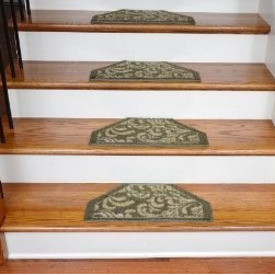 "Dean Flooring Company - Washable Non-Skid Carpet Stair Treads - Green Floral (13) - Washable Non-Skid Carpet Stair Treads - Green Floral (13) : Washable non-skid carpet stair treads by Dean Flooring Company. Helps reduce slips on your hardwood stairs. Great for helping your dog easily navigate your slippery staircase. Nylon pile with a machine washable non-skid latex backing (wash on delicate in cold water, line dry). Also easy to spot clean or vacuum. Reduces noise. Reduces wear and tear on your hardwood stairs. Each set contains 13 pieces. Each tread is approximately 22.5"" x 10"". Easy DIY installation with double-sided carpet tape (not included). Adds an attractive fresh new look to your staircase."
