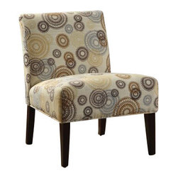 """ACMACM59069 - Aberly Collection Gears and Circles Print Accent Side Chair - Aberly collection gears and circles print with tapered legs fabric upholstered accent side chair. Measures 30"""" x 22"""" x 33"""" H. Some assembly required."""