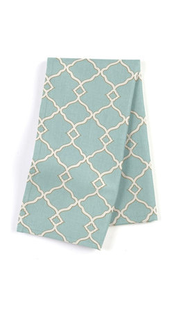 Aqua Classic Trellis Custom Napkin Set - Our Custom Napkins are sure to round out the perfect table setting'whether you're looking to liven up the kitchen or wow your next dinner party. We love it in this small classic cream trellis on flooded aqua cotton sateen.