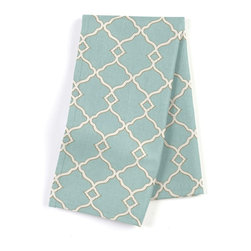 Aqua Classic Trellis Custom Napkins, Set of 4 - Our Custom Napkins are sure to round out the perfect table setting'whether you're looking to liven up the kitchen or wow your next dinner party. We love it in this small classic cream trellis on flooded aqua cotton sateen.