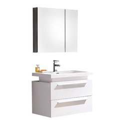 Fresca - Medio White Vanity w/ Medicine Cabinet Cascata Brushed Nickel Faucet - Striking in its simplicity, this vanity offers modern sophistication to your bathroom. This vanity is wall mounted with two pull out drawers for storage.  Fits virtually anywhere!  Many faucet styles to choose from.