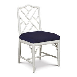 White Chippendale Side Chair - A Chinese Chippendale chair in white with a navy linen seat is such a great timeless classic. Use it in a dining room, breakfast room, home office or bedroom.