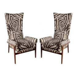ecofirstart - Midcentury High Back Chairs - Double the fun with these eclectic high-back chairs. Pairing a background in architecture with a passion for furniture, designer Adrian Pearsall mixes sensible assembly with fetching patterns and color combinations. You'll adore the stately presence of these stylish sitters as much as you'll appreciate their practical comfort.