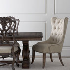 Horchow - Donabella Dining Set - From a table adorned with beautiful carved details to upholstered seating, this traditional dining furniture sets the stage for both casual and formal occasions. And it's nicely scaled for comfort. Save with discounted delivery and processing charges w...
