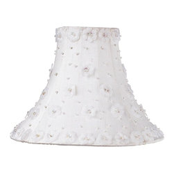 Jubilee Collection - Medium Shade - Petal Flower - White - Material: silk, metal. 4 x 10 x 8 in.