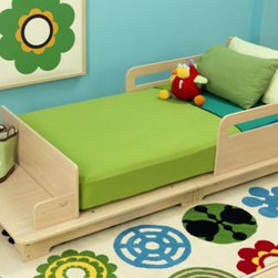 Groovy Gear For Baby - With clean, contemporary lines, the KidKraft Modern Toddler Bed is the perfect piece to help your little one transition from crib to bed. Unique features include a bench at the foot of the bed for extra seating or storage, easy access for kids with a low-to-the-ground base and mattress, smooth transformation from crib to bed with same-size mattress, and decorative bed rails to keep kids secure.