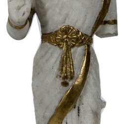 Singh Imports - Consigned Antique Marble Laxmi 4 - This is a 19th century marble carving of Goddess Laxmi. She is Goddess of wealth  and preservation. She is a primary goddess and wife of God Vishnu. She is the power of the universe that preserves and maintain it. She is prosperity and abundance.