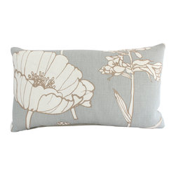 The Pillow Studio - Thom Filicia Lumbar Pillow Cover with Large Blue and Ivory Flower - This Thom Filicia lumbar pillow cover has a graphic image with soft light blue and ivory colors-- it allows for subtle impact. This pillow will be noticed but will not take over.