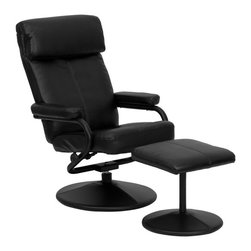 Flash Furniture - Contemporary Black Leather Recliner and Ottoman with Leather Wrapped Base - Recline in your favorite position with this comfortable recliner and ottoman set. This set features a built-in pillowtop headrest, thickly padded arms and leather wrapped bases. This set is not only perfect in the home, but makes for a great addition in the office when you need to relax for a bit. The durable leather upholstery allows for easy cleaning and regular care.