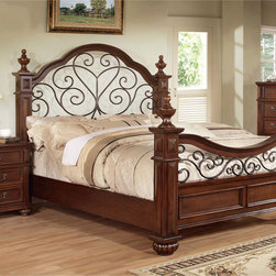 Furniture of America - Furniture of America Barath 3-piece Antique Dark Oak Bed Set - Sophisticated and grand in every way,this three piece bed set features a prominent and regal four poster bed with an expansive arching headboard that showcases an open floral design to match the metal curving footboard.