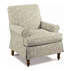 Gwynn Skirted Roll-Arm Chair w Tight Back - This cozy chair would work great for a cozy reading nook.  Or, buy a pair to create a seating area in front of fireplace.  I love the skirt.  It gives this piece a cottage, slip-covered feel for casual comfort.
