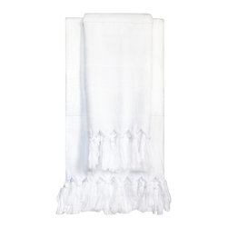 "Turkish-T - Hand Towel, Super Luxe Plush, 35"" x 20"", White - Don't let its light weight fool you. Washing your hands is a treat — not a chore — with this divine, extra soft, luxury hand towel in your bathroom. Knotted tassels means it looks as good hanging from its hook as it feels drying your hands in a hurry."