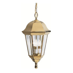 Kichler - Kichler LifeBrite Transitional Outdoor Hanging Light - Traditional from top to bottom with a touch of glamour thanks to the brilliant warm tones of the Polished Brass finish, this Kichler Lighting outdoor hanging light from the LifeBrite Collection also features clear beveled glass panels that complete the look. U.L. listed for wet locations.